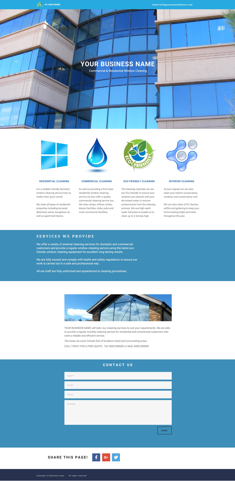 Window cleaning website example